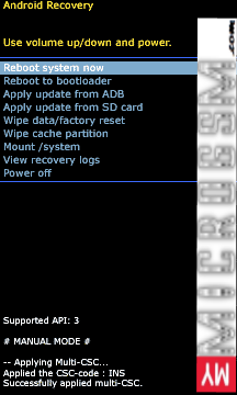 Reboot System Now from Stock Recovery Mode